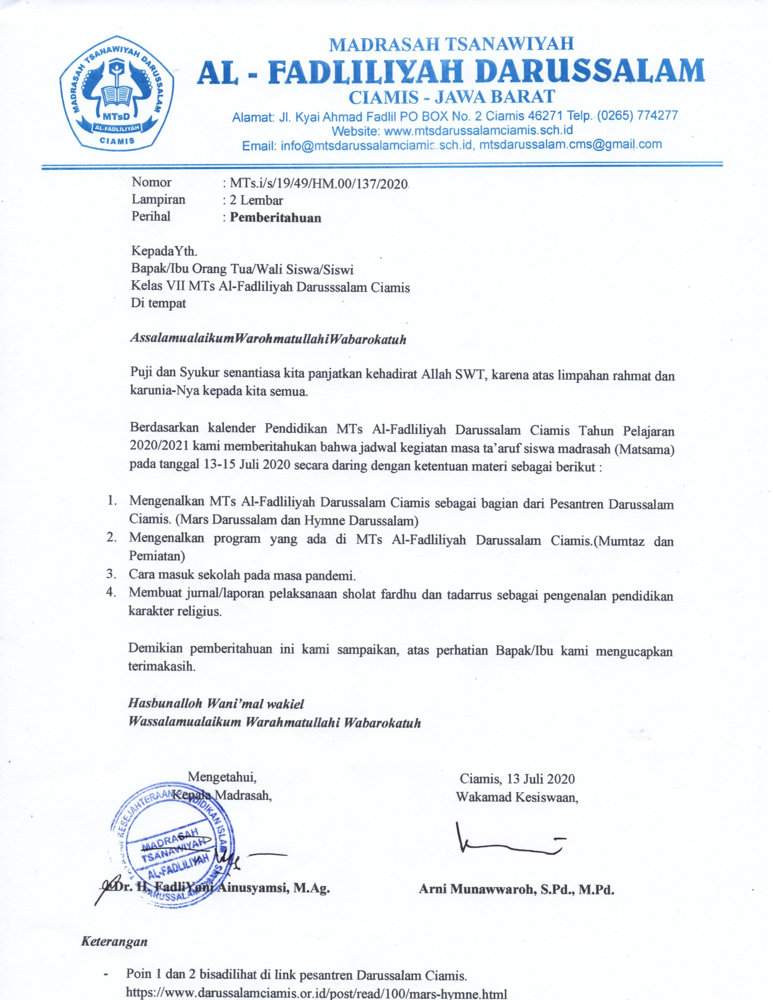 Surat Pemberitahuan Kegiatan Matsama (1)